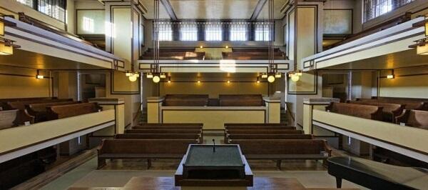 Obras de Frank Lloyd Wright: Unity Temple (interior)