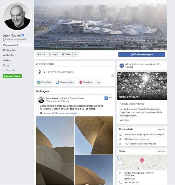 Como criar uma página no Facebook: Jean Nouvel