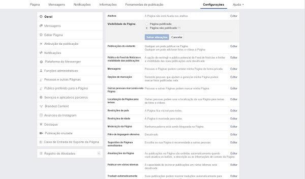 Como criar uma página no Facebook: configuração da página
