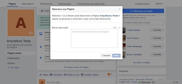 Como criar uma página no Facebook: descrição