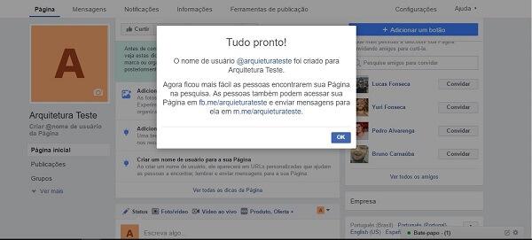 Como criar uma página no Facebook: url customizada final