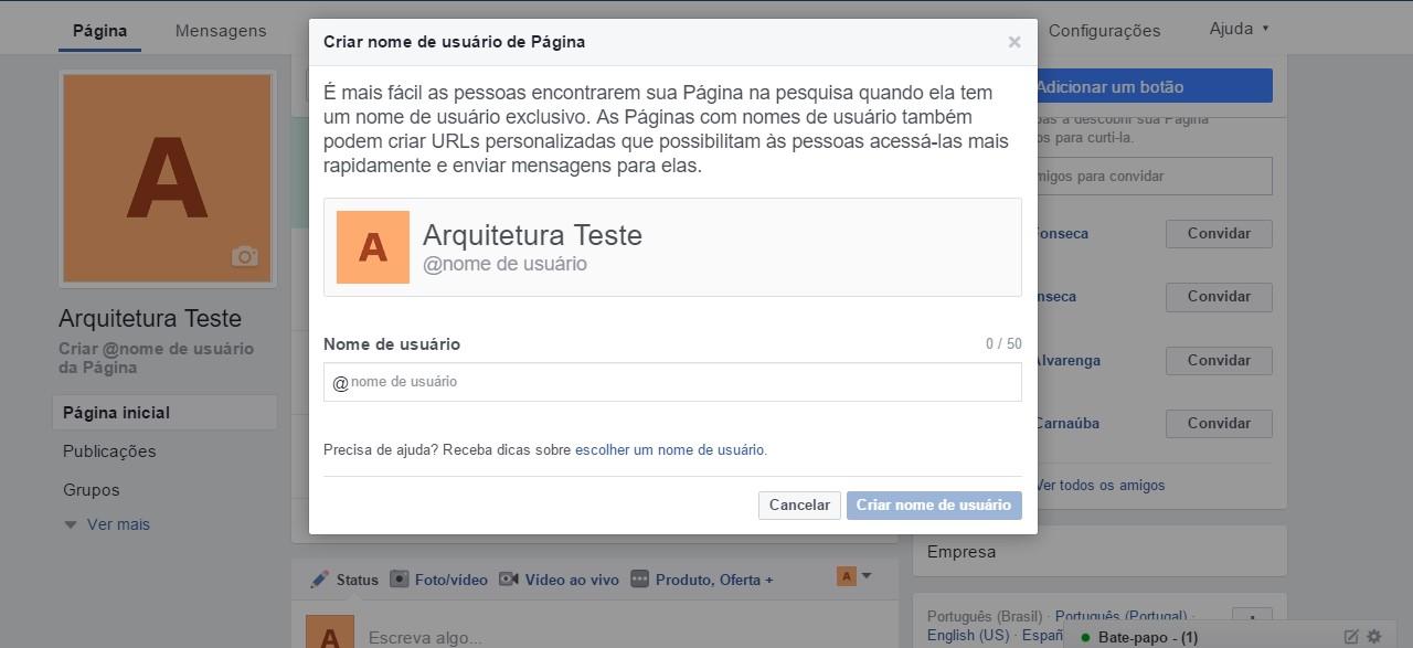 Como criar uma página no Facebook: URL customizada