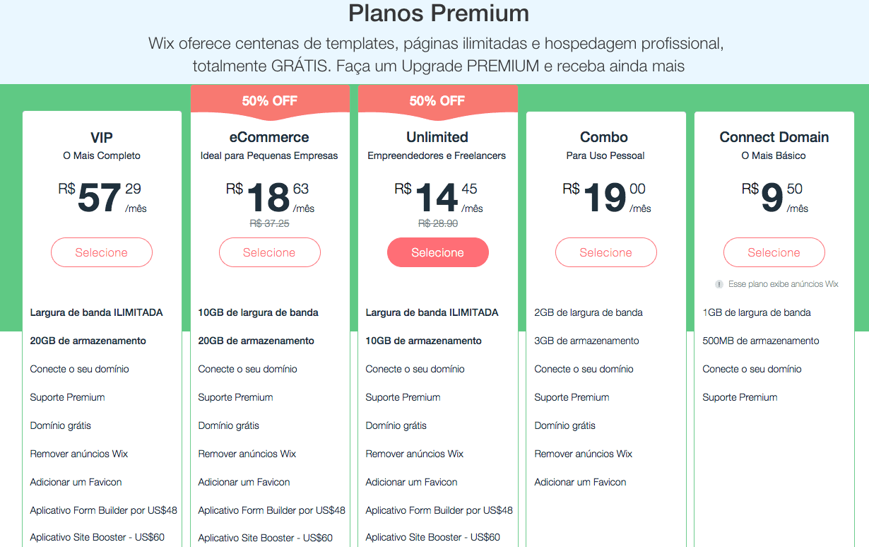Wix ou wordpress: preço wix