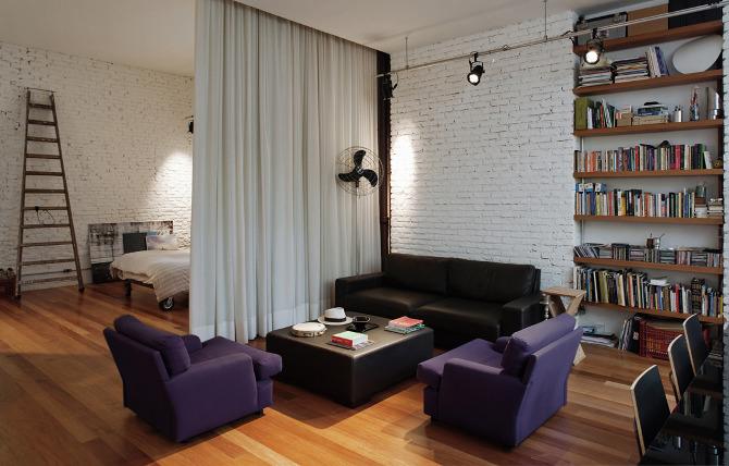 ar arquitetos: loft cinderela - sala e quarto