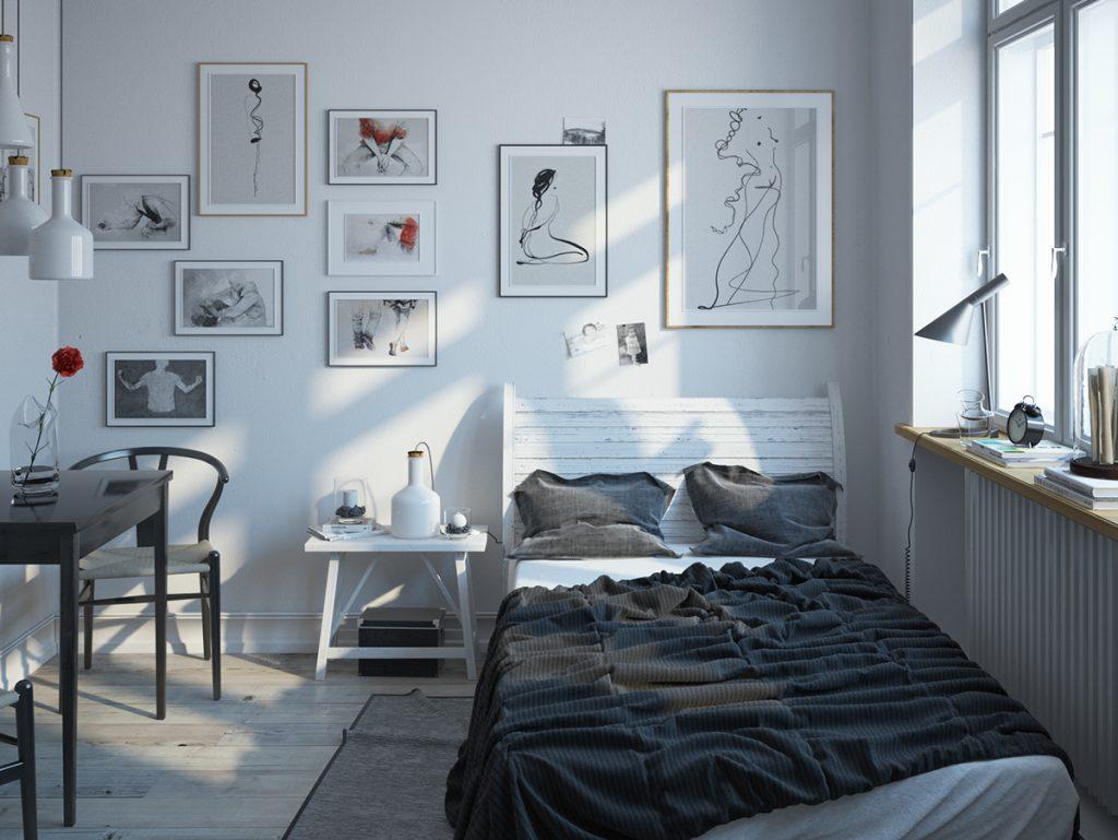 design-escandinavo-quarto-branco-e-preto