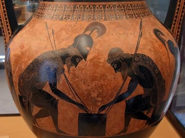 Arquitetura grega: Aquiles e Ájax jogando, de Exéquias