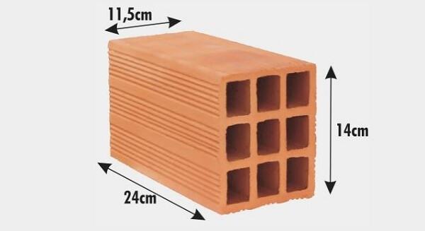 Tijolos por metro quadrado: Tijolo de 9 furos