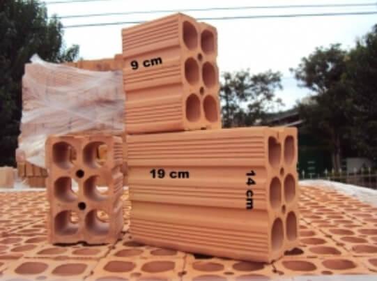 Tijolos por metro quadrado: Tijolo de 6 furos