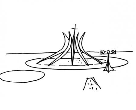 croquis-de-arquitetos-famosos-oscar-niemeyer-catedral-de-brasilia