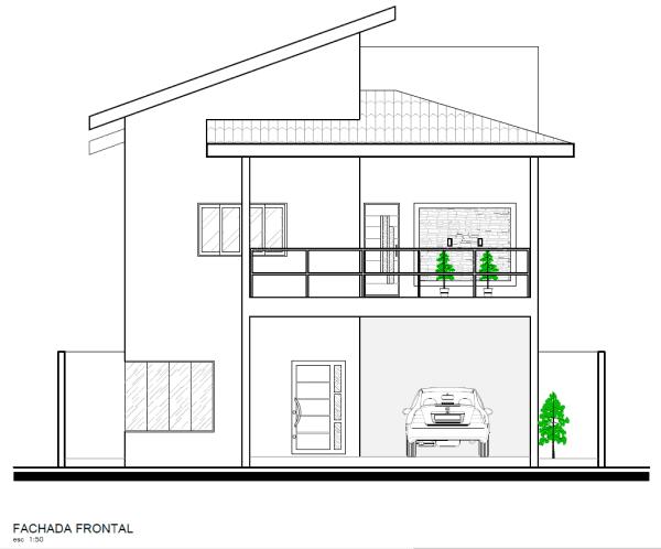 Anteprojeto de arquitetura: planta de fachada