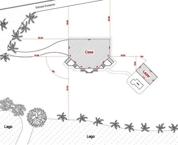 Anteprojeto de arquitetura: Planta de localização de um imóvel dentro de uma fazenda