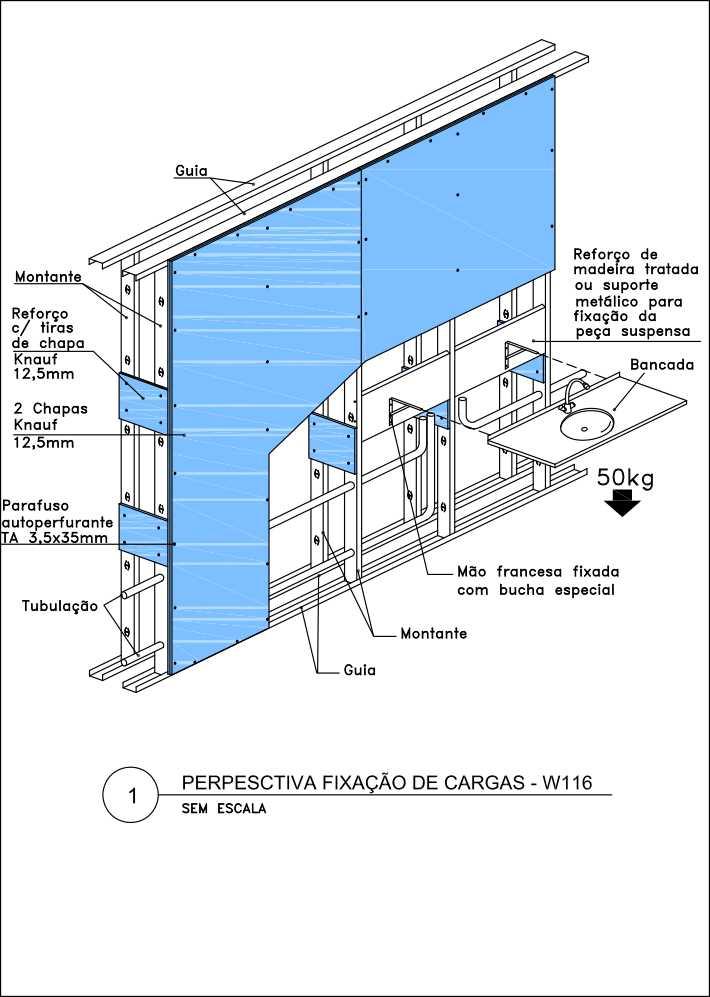 Como fazer reforço em parede de drywall: Esquema de reforço em drywall para fixação de bancada suspensa