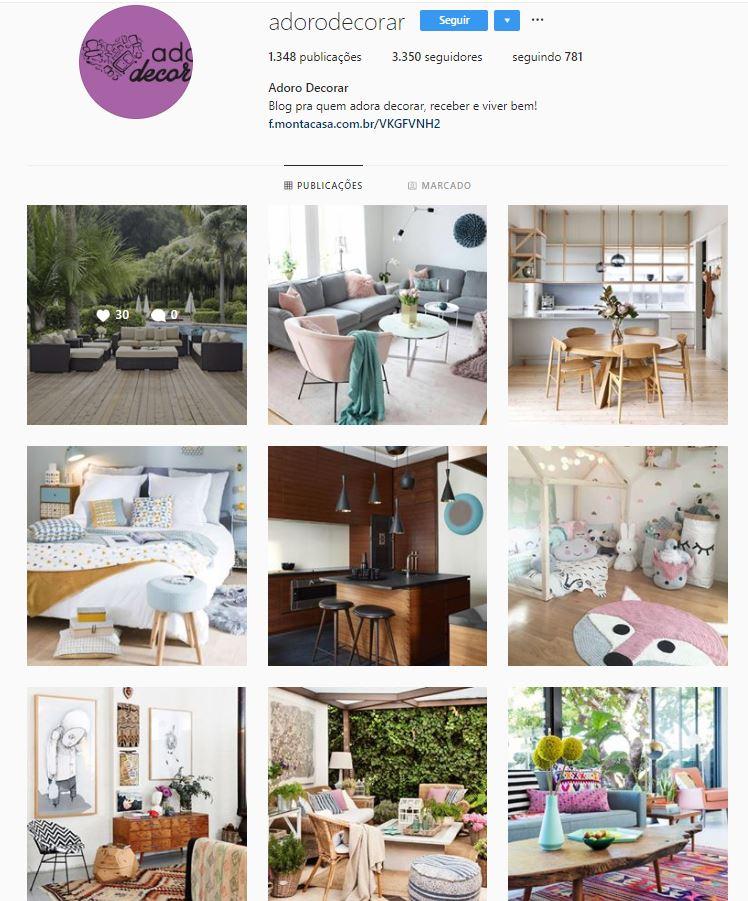 Instagram de design de interiores @adorodecorar