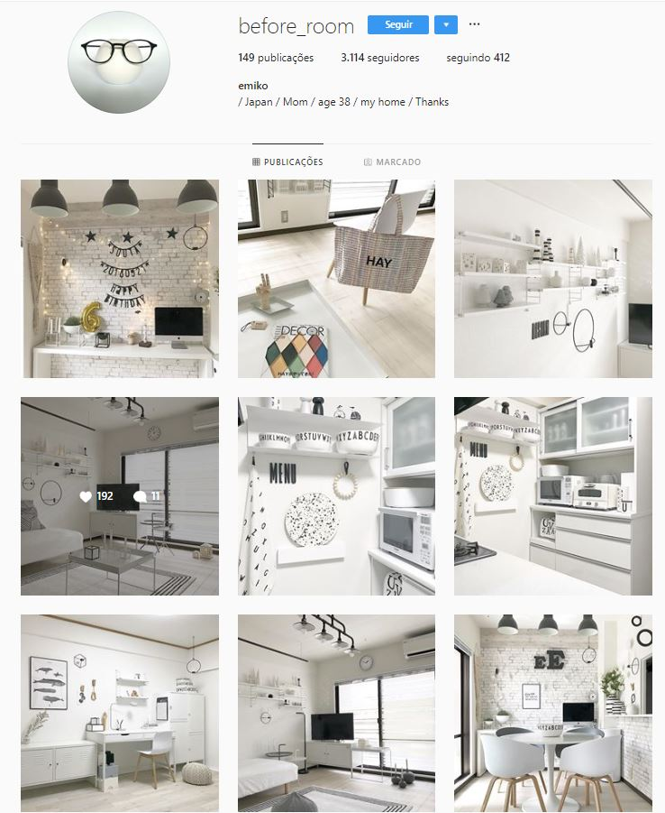 Instagram de design de interiores @before_room