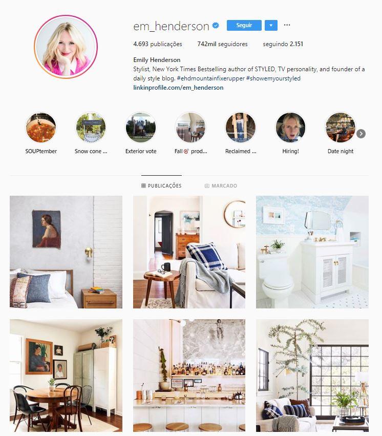 Instagram de design de interiores: @em_henderson