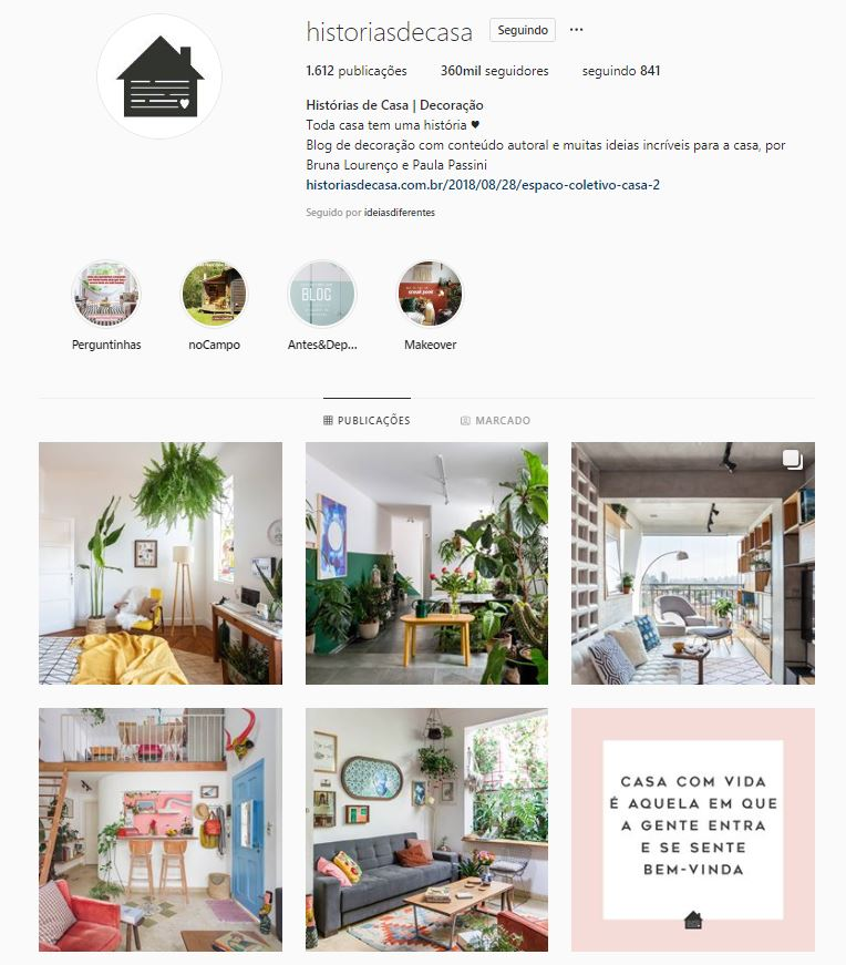 Instagram de design de interiores @historiasdecasa