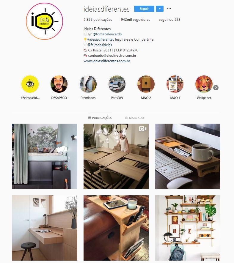 Instagram de design de interiores @ideiasdiferentes