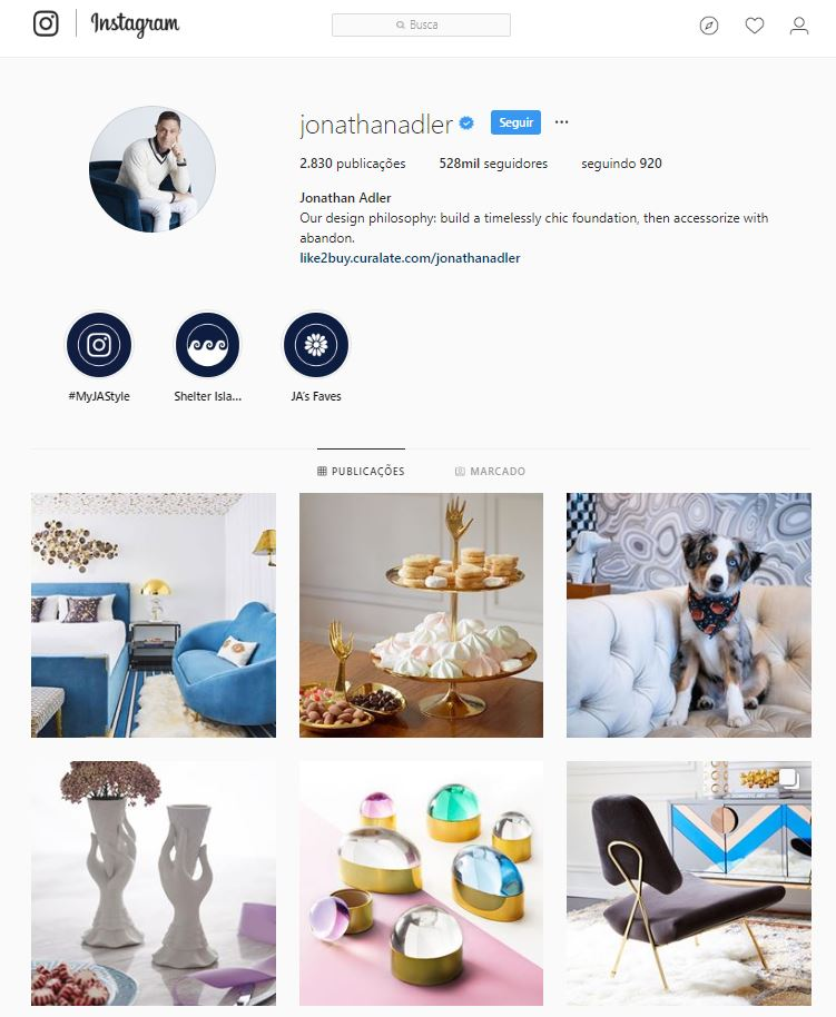 Instagram de design de interiores @jonathanadler