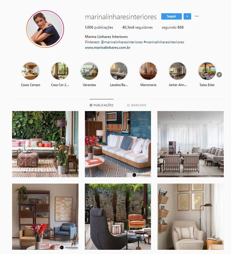 Instagram de design de interiores @marinalinharesinteriores