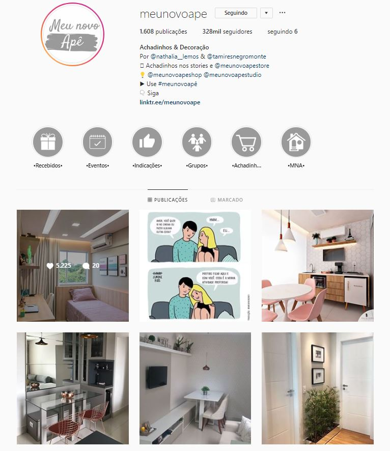 Instagram de design de interiores @meunovoape