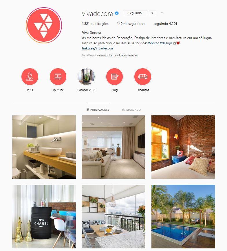 Instagram de design de interiores @vivadecora