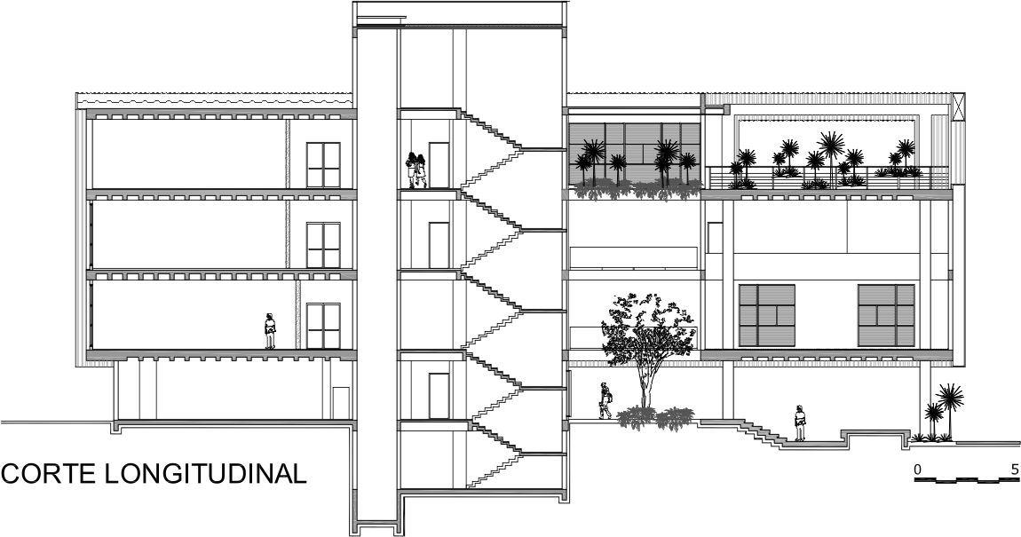 Anteprojeto de arquitetura: Planta de corte longitudinal
