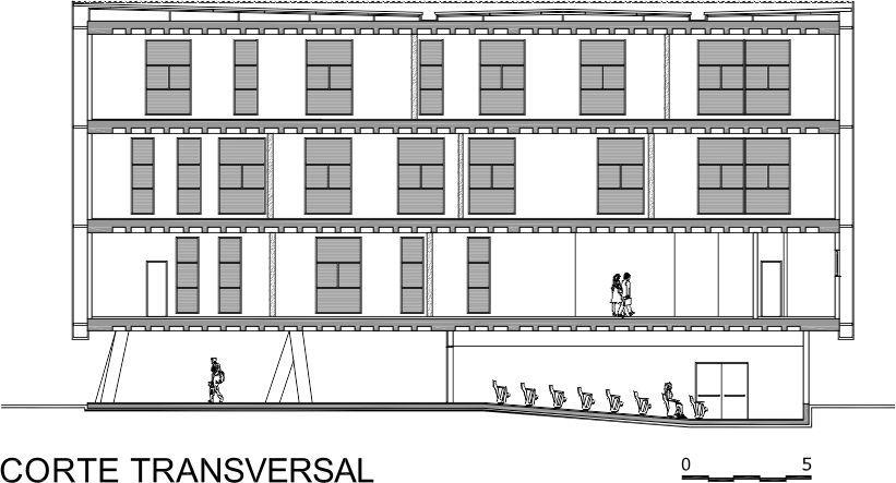 Anteprojeto de arquitetura planta de corte transversal
