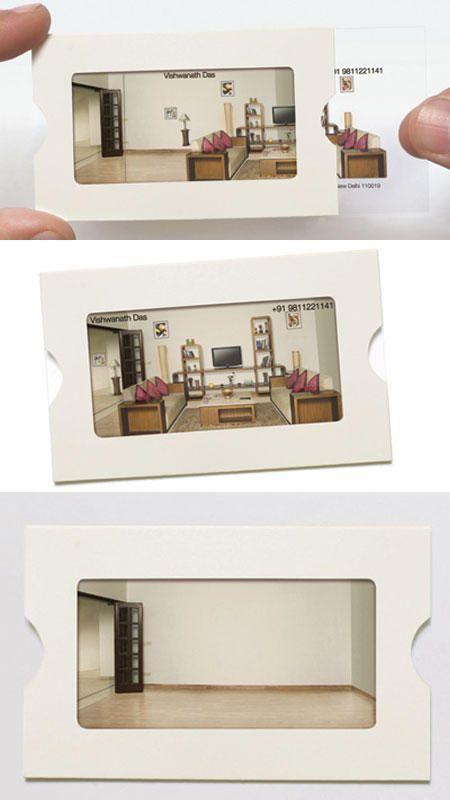 cartão de visita design de interiores transparência