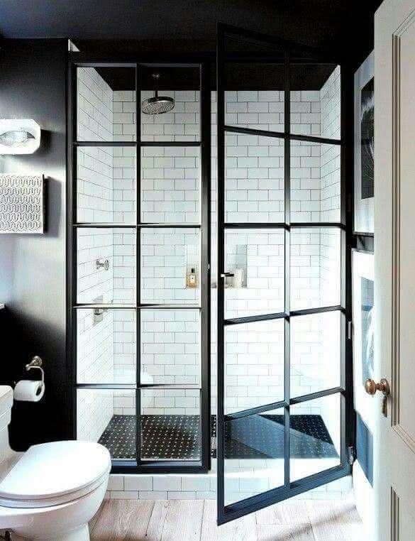 ideias para box de banheiro: box com estrutura quadriculada preta e vidros fixados