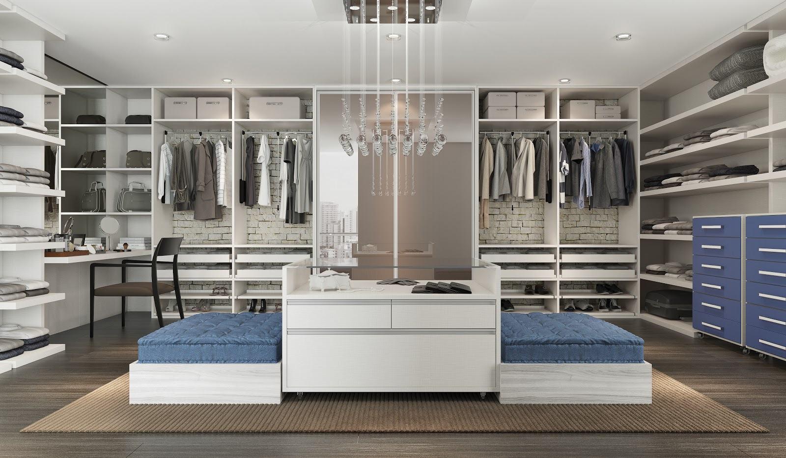Iluminação de closet com pendentes