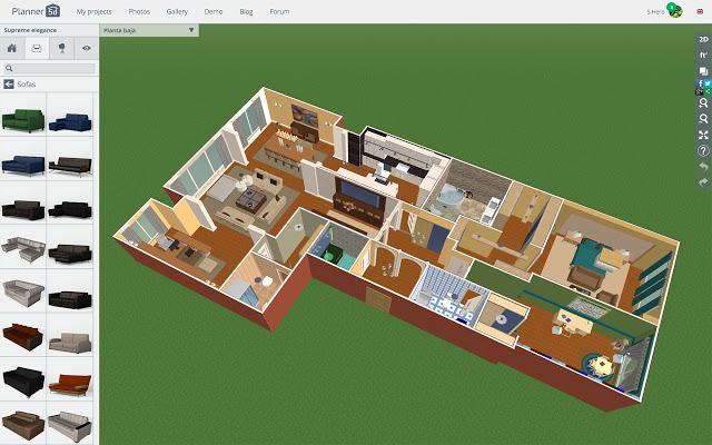 Programa para design de interiores: Planner 5D