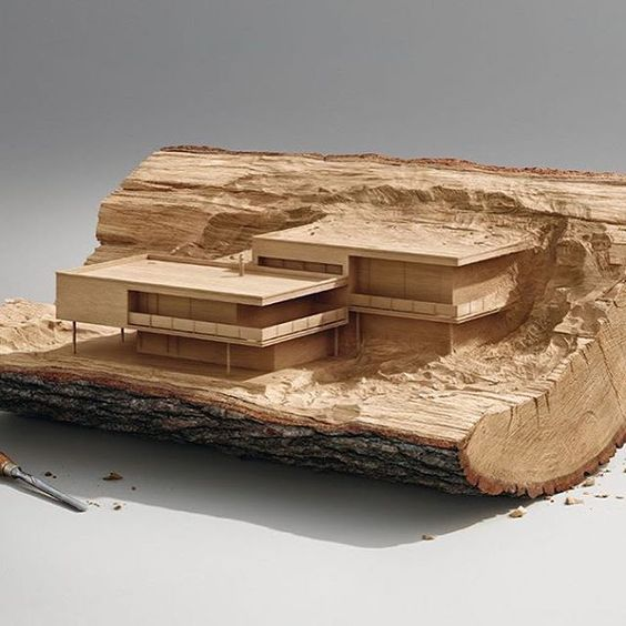 Maquete de arquitetura: maquete esculpida na madeira