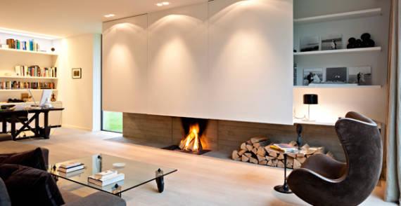 Tipos de lareira: lareira com espaço para armazenamento da madeira