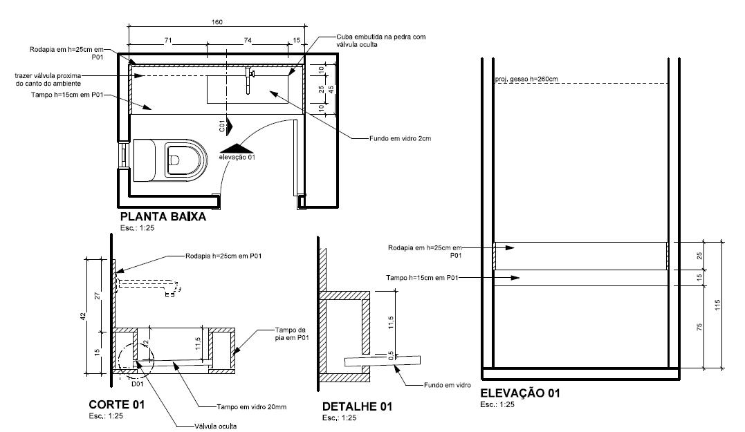 Tipos de cuba para banheiro: projeto lavabo La Decora