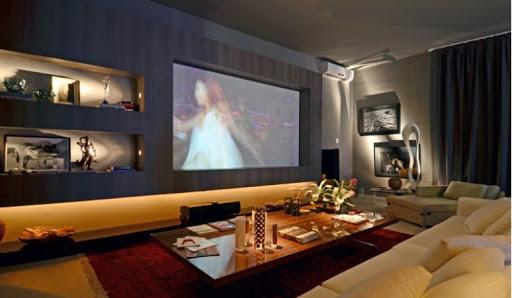Iluminação de sala de TV: nicho de home teather iluminado