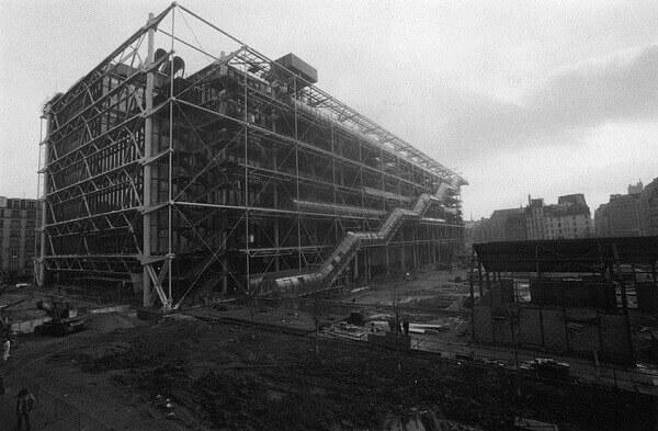 Centro Georges Pompidou: durante a construção