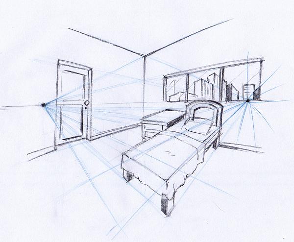 Ponto de fuga: desenho com dois pontos de fuga - quarto