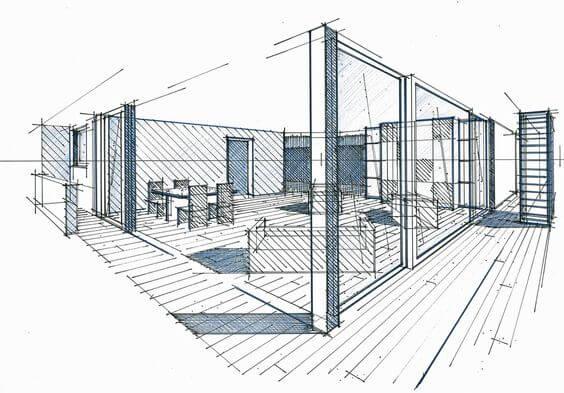 Ponto de fuga: desenho com dois pontos de fuga - casa