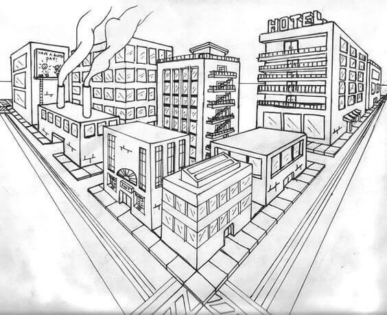 Ponto de fuga: desenho com dois pontos de fuga - cidade