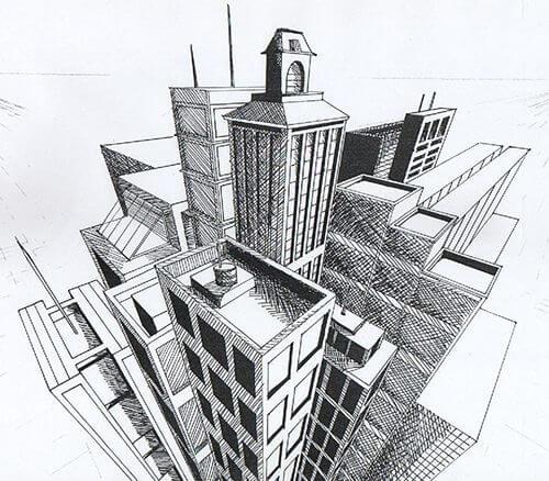 Ponto de fuga: desenho com três pontos de fuga (cidade)