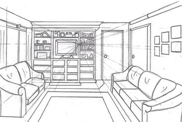 Ponto de fuga: desenho com um ponto de fuga - sala