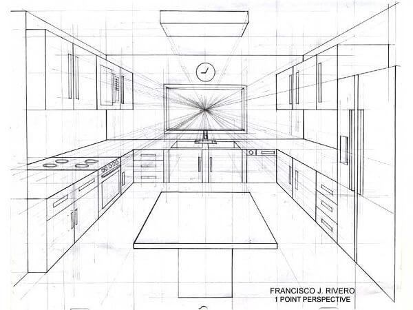 Ponto de fuga: desenho com um ponto de fuga - cozinha