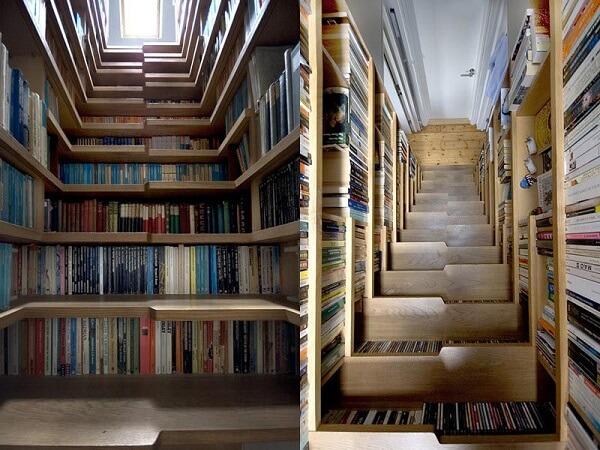Escada Santos Dumont com livros