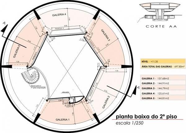 Museu de Arte Contemporânea de Niterói: Planta Baixa do 2º piso