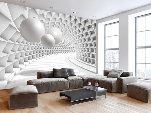 Tipos de papel de parede: papel de parede 3D com desenho