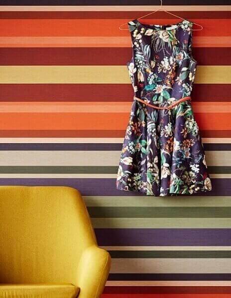 Tipos de papel de parede: papel de parede com estampa de listras