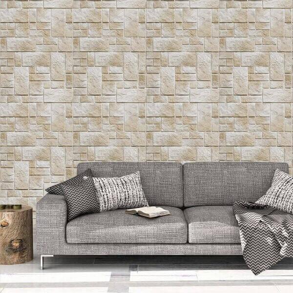 Tipos de papel de parede: papel de parede de pedra