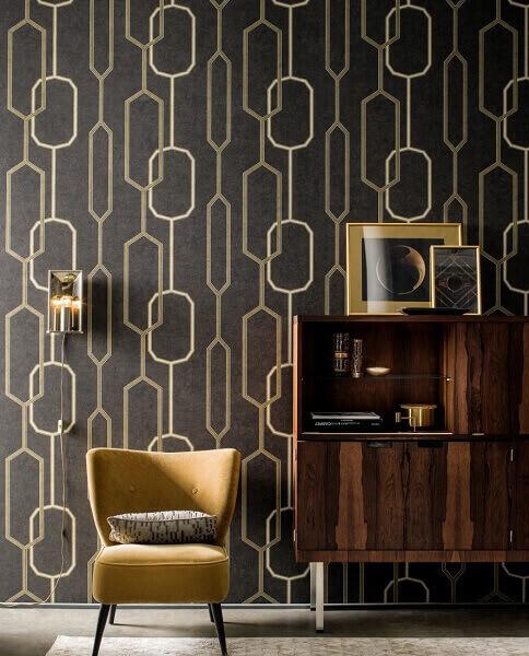 Tipos de papel de parede: papel de parede retrô preto e dourado