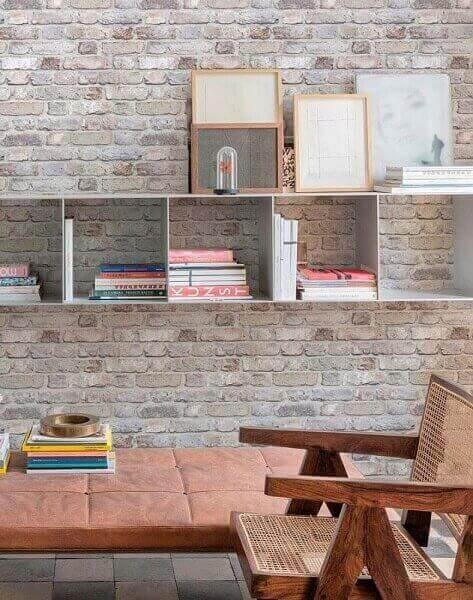 Tipos de papel de parede: papel de parede tipo tijolo