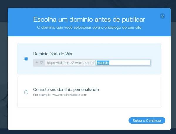 Como criar site no Wix: domínio